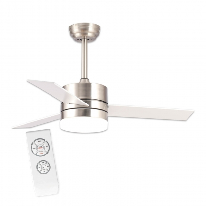 VENTILATEUR DE PLAFOND LED LORENZO 16W 3 PALES NICKEL