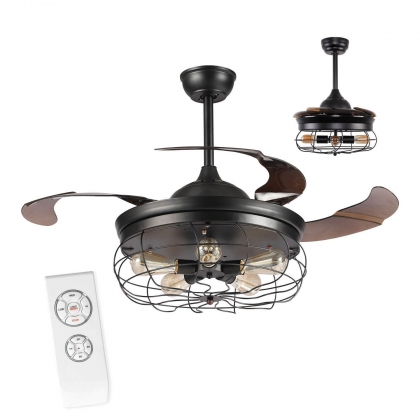 VENTILATEUR DE PLAFOND SEATTLE PLIABLE 4 PALES MARRON