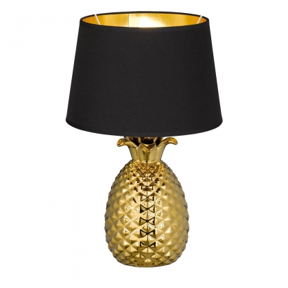 LAMPE DE TABLE ANANAS CÉRAMIQUE OR 43CM