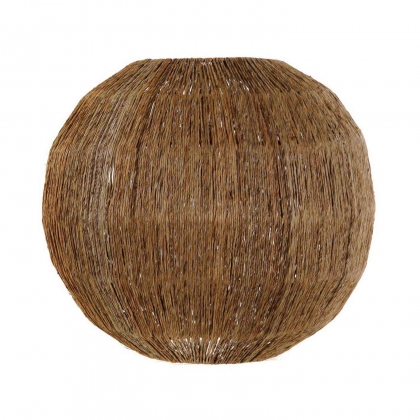 PANTALLA JUTE NATURAL MARRÓN METAL 36 CM